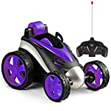 LANKEE Remote Control Car for Boys Girls,RC Stunt Car for Kids,360 Degree Rotation,Upright Driving,Safe Durable ABS Material,RC Car Birthday Gife for Child Aged 4 to 10,Purple