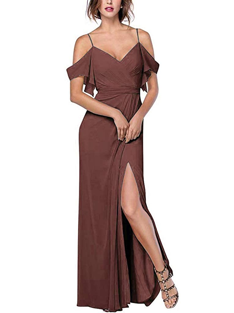 Brown RTTUTED Women's Spaghetti Strap Slit Bridesmaid Dresses Long Evening Formal Gown