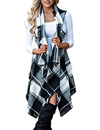 Womens Casual Sleeveless Tassel Drap Open Front Plaid Kimono Cardigans Coat Outwear Vest With Asymmetric Hem