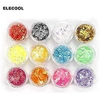 Shoppy Star:ELECOOL Irregular 12 Color Shiny Ice Mylar Shell Paper Acrylic Nail Glitter Bling Bling Iridescent Ice Mylar Shell Paper Flakes