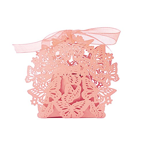 Gospire 50pcs Butterfly Party Wedding Favor Box Birthday Shower Party Candy Boxes Bombonera Pink