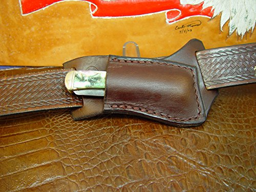 Custom Made Right Hand Cross Draw Knife Sheath for a 4 1/8 Inch Trapper Style Knife Made Out of 10 Ounce Water Buffalo Hide Died Dark Brown Knife Not Included - Side Draw Sheath