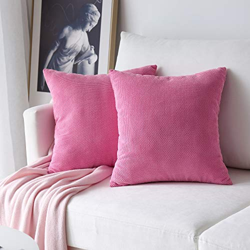 (NATUS WEAVER 2 Piece Waffle Corduroy Euro Sham Cushion Cover Throw Pillow Case for Sofa, 24 x 24 inch (60 cm), Coral Pink)