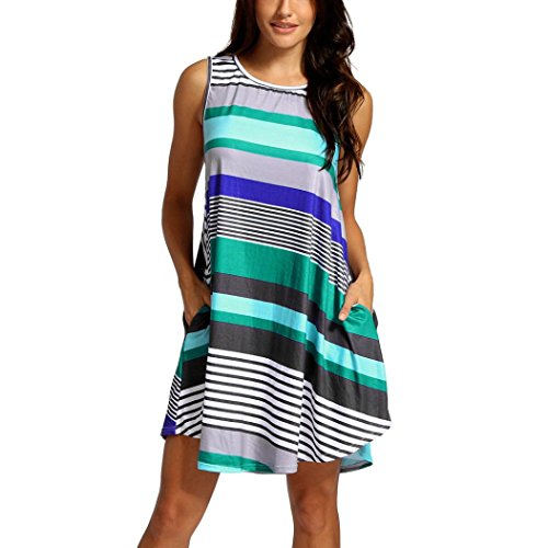 Green Soft Dress - Clearance Sale! Wintialy Women Summer Dress Sleeveless O Neck Striped Printing Casual Party Dress