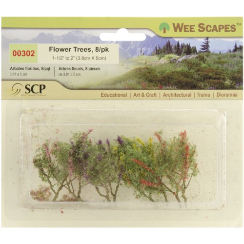 """Flower Trees 1-1/2"""" To 2"""" 8/Pkg-Red/Pink/Yellow/Purple"""