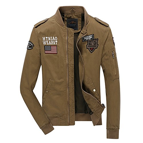 [H.T.Niao Jacket8526C3 Korean Men 's Casual Jackets(Khaki,Size XXXXL)] (Breaking Bad Pumpkin Stencils)