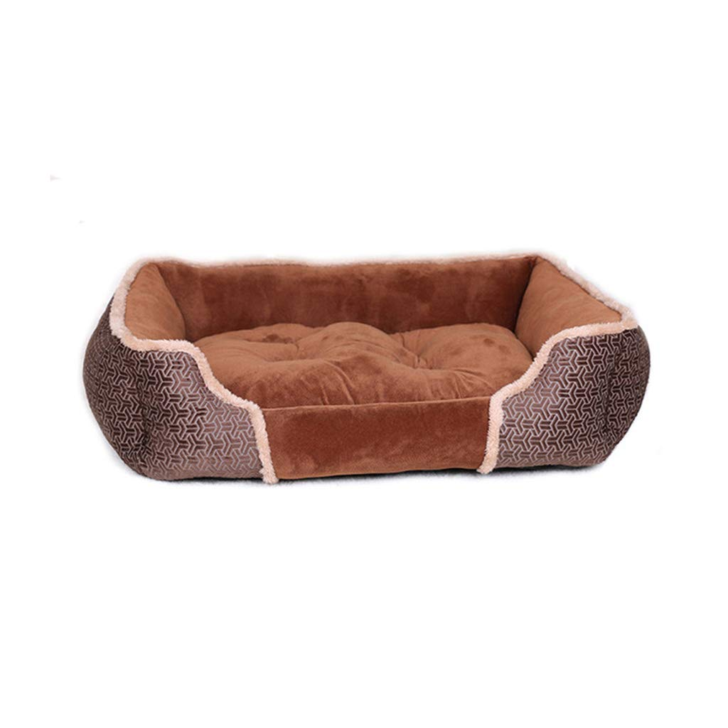 Red 554516cm Red 554516cm Suede Dog Bed Suitable for Small Dogs Rectangular Winter Warm Pet Bed Cat Medium Dog Square Sofa Washable (color   Red, Size   55  45  16cm)