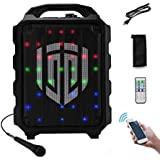 PRORECK FREEDOM 8 Portable 8-Inch 2-Way Rechargeable Powered Dj/PA Speaker System with Wired Microphone LED Lights Function Bluetooth/USB Drive/FM Radio/Remote Control