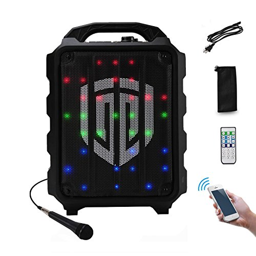PRORECK FREEDOM 8 Portable 8-Inch 2-Way Rechargeable Powered Dj/PA Speaker System with Wired Microphone LED Lights Function Bluetooth/USB Drive / FM Radio/Remote ()
