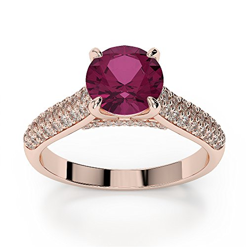 Or Rose 18 carats 1 CT G-H/VS sertie de diamants ronds Cut Rubis et bague de fiançailles Agdr-1203