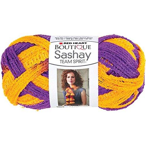 RED HEART Boutique Sashay Team Spirit Yarn, Purple/Gold -
