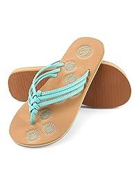 Aerusi Women's Braided Thong Flip-Flop Sandals