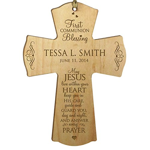 LifeSong Milestones Personalized Baptism 1st Holy Communion Blessing Christening Gifts Wall Cross Decoration May Jesus Live Within Your Heart (4.5