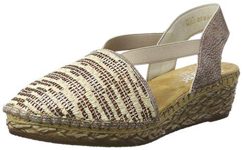 Rieker Damen 68979 Geschlossene Sandalen mit Keilabsatz Mehrfarbig (rose-beige/rose / 91)