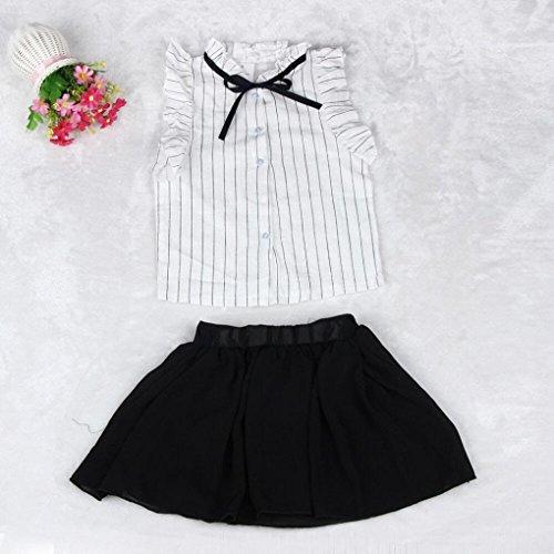 Moda gonna confortevole Stripes 2pcs Set Chic Gonne in Adeshop Estate Papillon chiffon Girls casual maniche Suit bianco Camicie Stagione senza Vestiti CvfUq