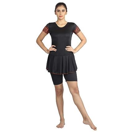 Buy Women Swim Wear Frock Half Sleeves Half Length Poly