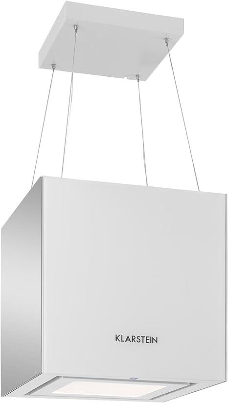 Klarstein Kronleuchter - Campana extractora, Extractor cubierto, Extractor de humos, Absorción de 600 m³/h, 3 niveles, Indicador digital, LED, Vidrio, Espejado, Filtro de carbono, Blanco: Amazon.es: Hogar