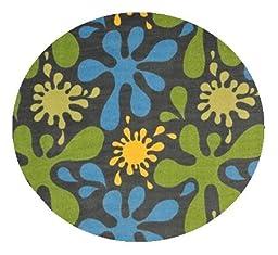 Splat Gray Multi - 3\' ROUND Custom Stainmaster Premium Nylon Carpet Area Rug ~ Bound Finished Edges