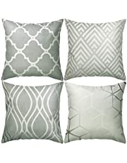 JuneJour Set of 4/6 Throw Cushion Cover Pillow Cases Decorative Polyester Linen Square Single-sided Printing Pillow Covers for Home Office Sofa Couch Car 45 * 45cm (Grey Geometric Figure-4pcs)