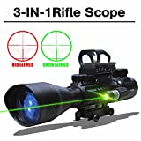 HOMOFY Rifle Scopes 4-12X50EG Dual Ill Optical Reticle with Holographic Unlimted R&G Dot Sight and 500m Green/Red Laser 22&11mm Mount(24 Month Warranty)