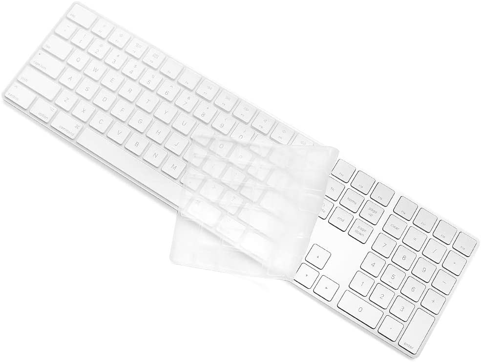 ProElife Ultra Thin Silicone Full Size Keyboard Cover Skin for 2017 2018 Apple iMac Magic Keyboard with Numeric Keypad MQ052LL/A A1843 (Item Folded in Packaging), Semi-Transparent Clear