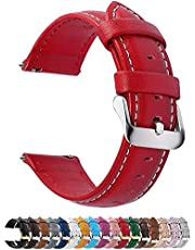 12 Colors for Quick Release Leather Watch Band, Fullmosa Axus Genuine Leather Watch Strap 14mm Red