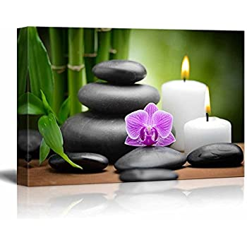 Canvas Prints Wall Art - Zen Basalt Stones and Orchid Spa,Beauty and Calmness Concept | Modern Wall Decor/Home Decoration Stretched Gallery Canvas Wrap Giclee Print & Ready to Hang - (16