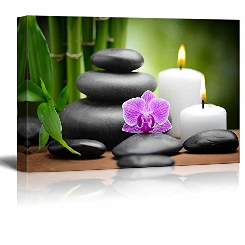 zen basalt stones and orchid Spa Beauty and Calmness Concept Wall Decor ation ()