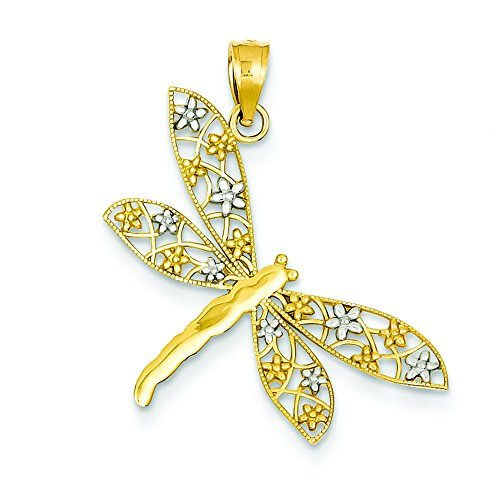 14K Two-Tone Gold Filigree Dragonfly Charm Pendant 14k Gold Dragonfly Charm