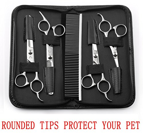 Augymer 5 PCS Rounded Tips Pet Grooming Scissors Kit, Curved Pet Grooming Shears For Cats Dogs Stainless Steel Scissor For Body Face Ear Nose Paw - Pet Grooming Scissors Curved