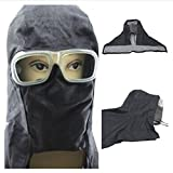 CSLU-Tool 1 Pcs Sand Blasting Hood Mask Cap Anti Wind Dust Protective Denim Splash Control Full Face Mask with PVC Glasses