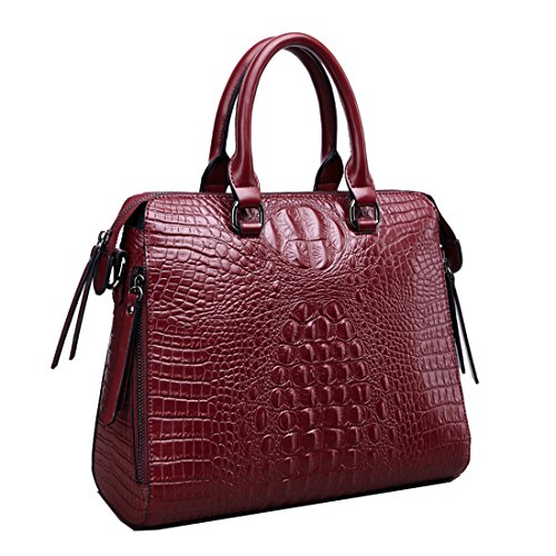 Crossbody Bag Tote Shoulder Purse Vintage Women's Cowhide Leather Missmay Dark Work Handbag Red Satchel Crocodile 78BnH