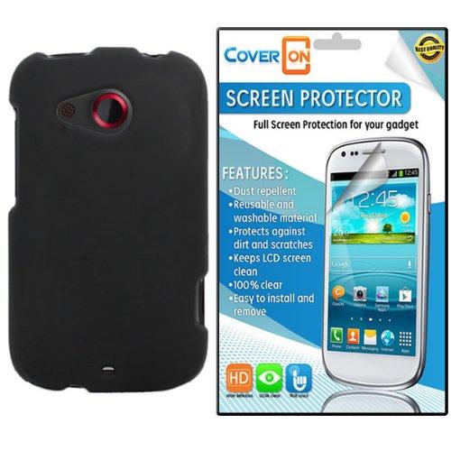 CoverON HTC Desire C Hard Rubberized Slim Case Cover Bundle with Clear Anti-Glare LCD Screen Protector - Black (Htc Desire C Cover compare prices)