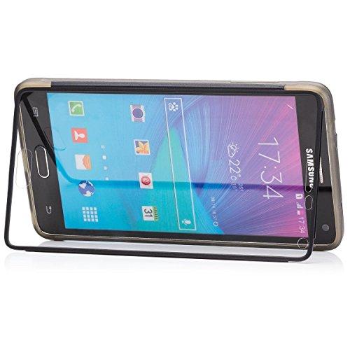 Samsung Galaxy Note 4   iCues despejan el caso de TPU Verde   luz extra lámina transparente muy fina protector exterior gruesa dura de la caja a prueba de golpes 360 grados Pantalla de cuerpo completo Antracita