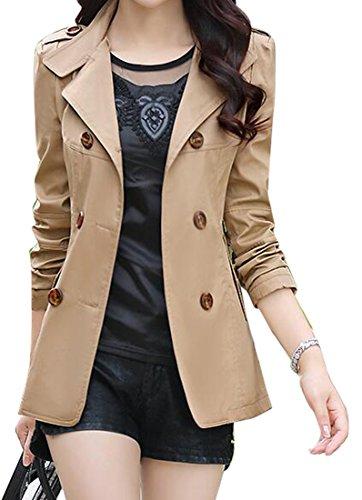 Womens Short Trench - SHOWNO Womens Double-breasted Lapel Short Trench Coat Jacket Blazer Coat 1 XXL