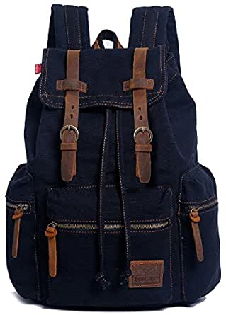EcoCity Vintage Canvas Backpack Rucksack Casual Daypacks BP0030B1 (black)