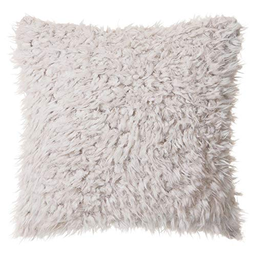 North End Decor Faux Fur 18 x18 with Insert, Off-White Plush Throw Pillows, 18×18 Stuffed
