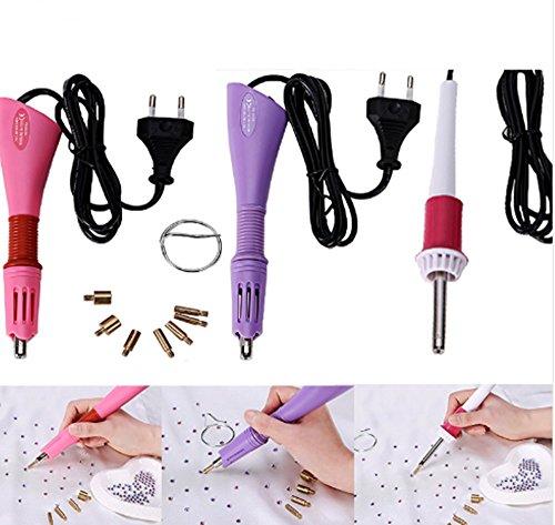 [Gun Heat Hot Fix DIY Rhinestone Tools Applicator 1 piece 7 Tips Rapid Heating Up (Pink)] (Dance Costumes Atlanta)