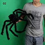 DHmart 30/50/75cm Large Spider Made Of Wire And Plush Two Style Funny Toy Spider Props For Party Bar KTV Halloween Decoration