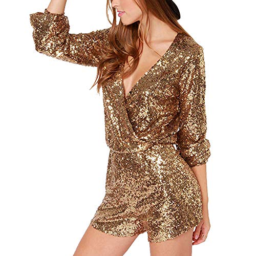 VERO VIVA Womens Sequin Wrap Deep V Neck Tunic Long Sleeve Party Jumpsuit Romper(M,Gold) (Dressy Short Jumpsuit)