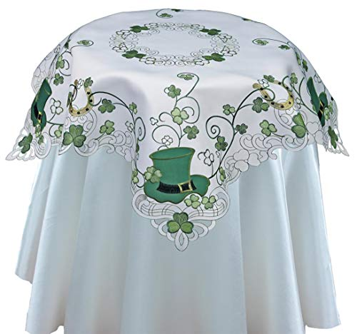 Creative Linens St. Patrick's Day Table Linens, Spring Embroidered Shamrocks Irish Clovers and Leprechaun Hats Placemats, Table Runners, Tablecloths, White Green (34