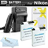 2 Pack Battery And Charger Kit For Nikon COOLPIX S9900, A900, S9500, P310, S9300 S6300, S9200 P330 P340, AW120, AW130, S9700 Digital Camera Includes 2 Replacement EN-EL12 Batteries + Ac/Dc Charger ++
