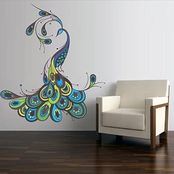Genial Full Color Wall Decal Mural Sticker Decor Art Feather Peacock Bird (Col767)