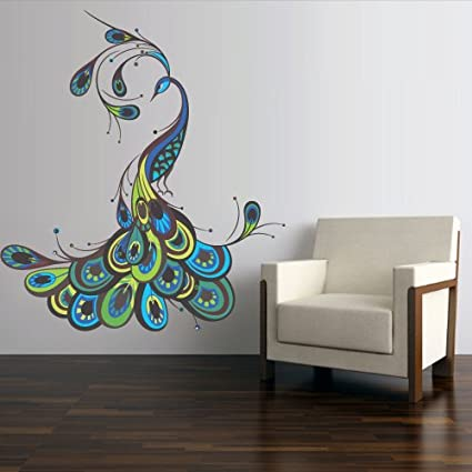 Full Color Wall Decal Mural Sticker Decor Art Feather Peacock Bird (Col767)
