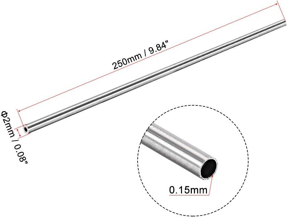 sourcing map 304 Inox Acier Rond Tubes 2mm OD 0.15mm Mur /Épaisseur 250mm Longueur Sans Couture Droit Tube Tube