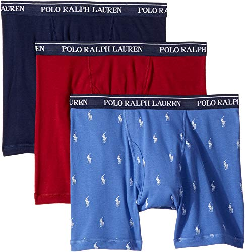 Polo Ralph Lauren Men's Classic Fit w/Wicking 3-Pack Boxer Briefs Indigo Sky/Red Sienna/Cruise Navy Large -