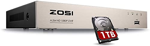 ZOSI 8CH 1080P Surveillance DVR Video recorders with 1TB Hard Drive Supports 4-in-1 HD-TVI CVI CVBS AHD 960H Security Cameras, Motion Detection, Remote Viewing Renewed