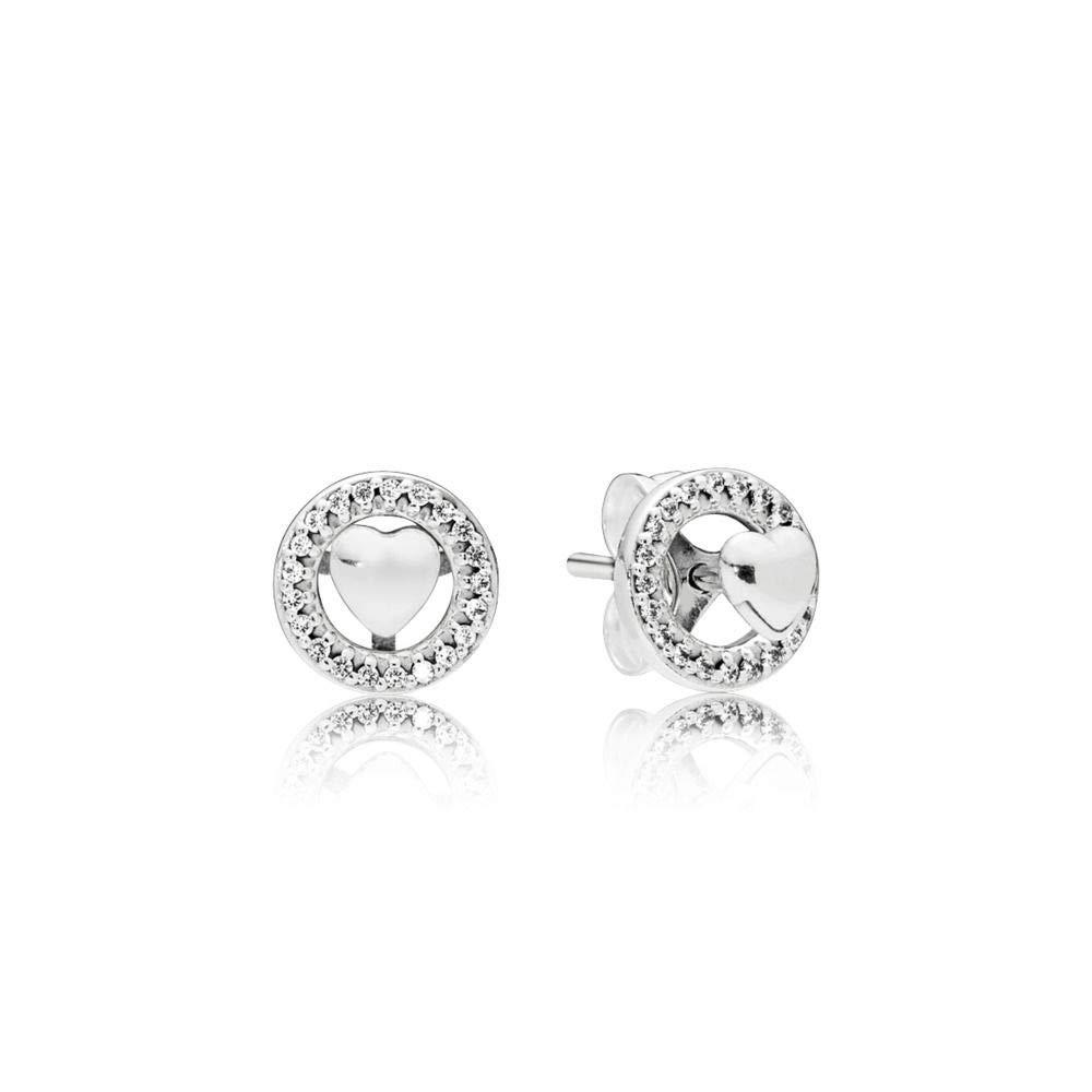 Pandora Forever Hearts Silver Stud Earrings 297709CZ
