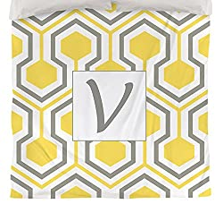 Manual Woodworker Weavers Duvet Cover, Twin, Monogrammed Letter V, Yellow Honeycomb
