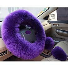 Winter Warm Wool Handbrake Cover Gear Shift Cover Steering Wheel Cover 38cm diameter 1 Set 3 Pcs (Purple)